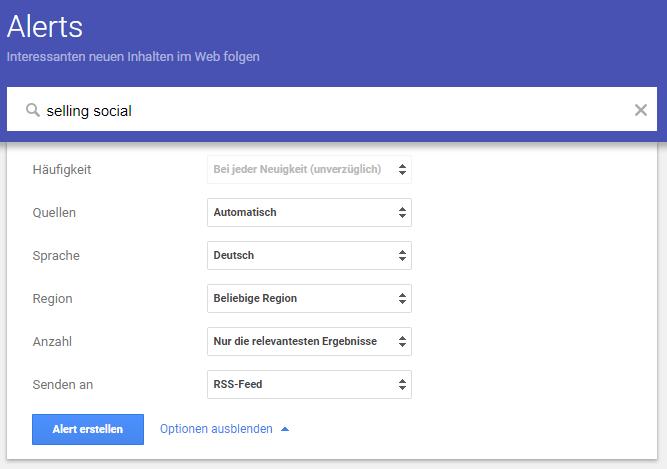 Social Media Monitoring Tool kostenlos - Google Alert
